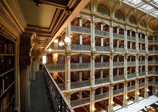 View from a balcony in the George Peabody Library
