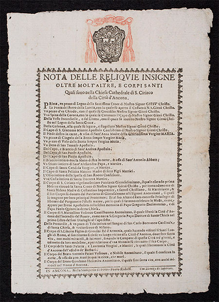 Broadside with coat of arms of the Archbishop of Ancona