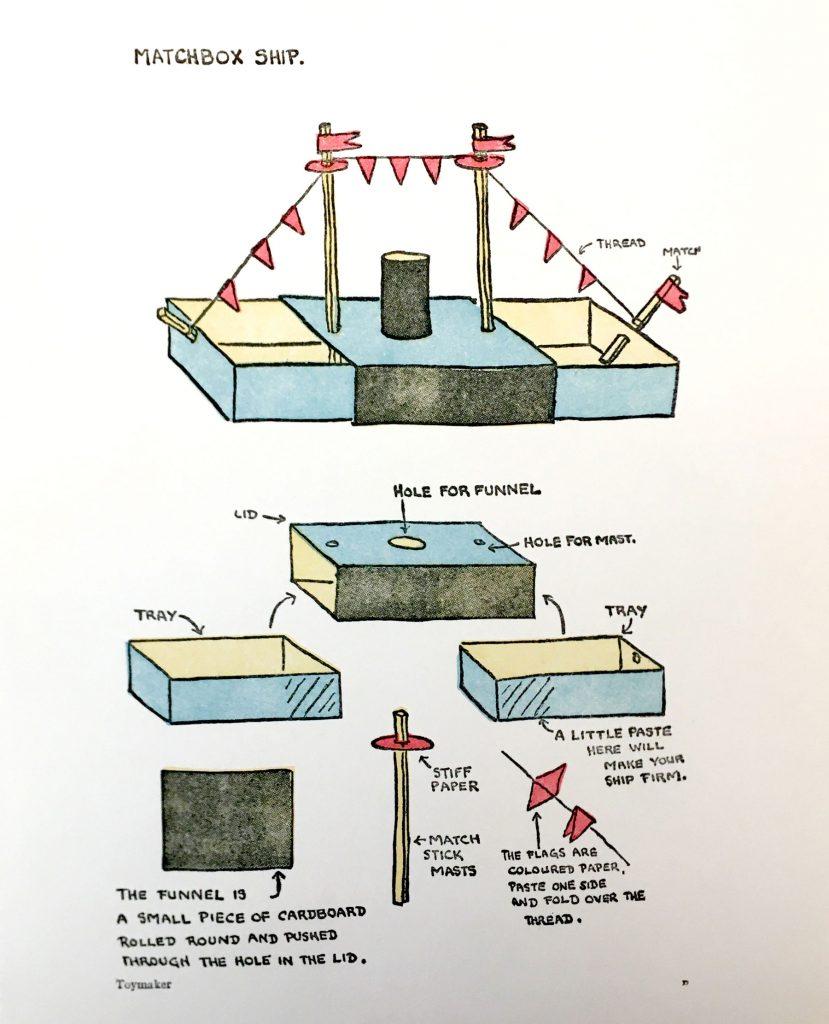 Diagram for making a matchbox ship