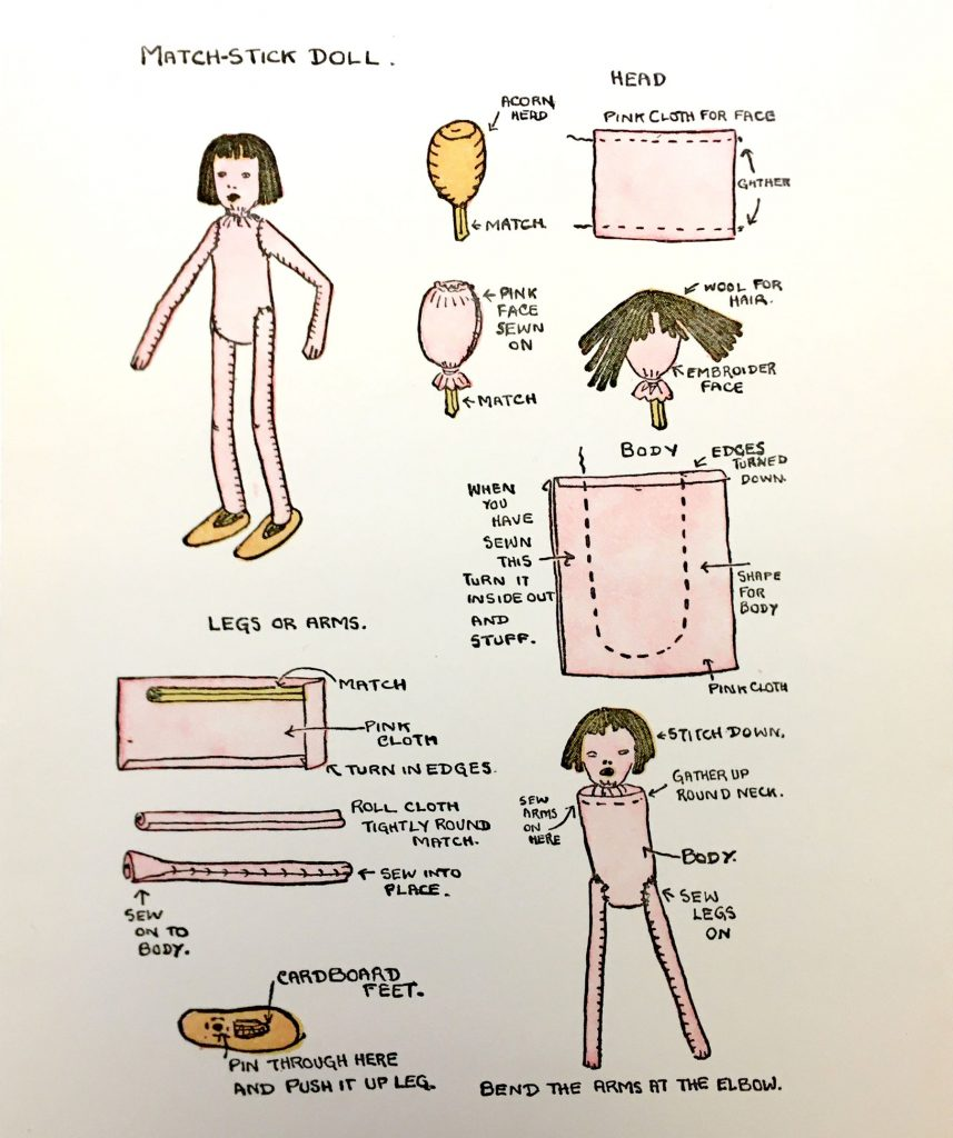 Diagram for making a match-stick doll