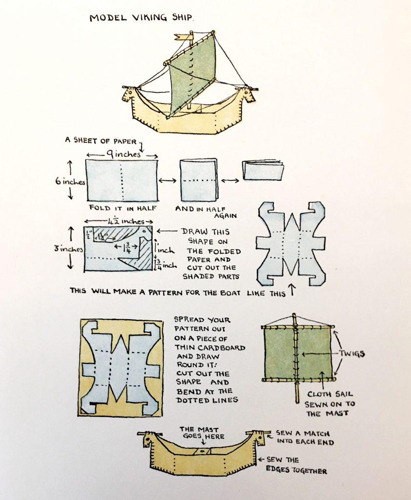 Diagram for making a model viking ship