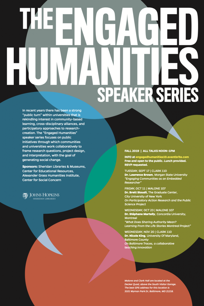 Poster for the 2019 Engaged Humanities Speaker Series
